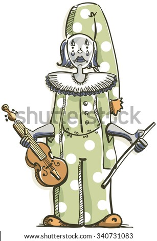 the sad clown violinist on the white background - stock vector