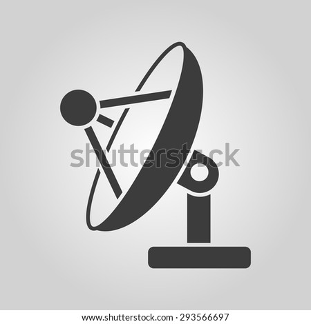 The satellite antenna icon. Communicate and broadcast, telecommunications symbol. Flat Vector illustration - stock vector