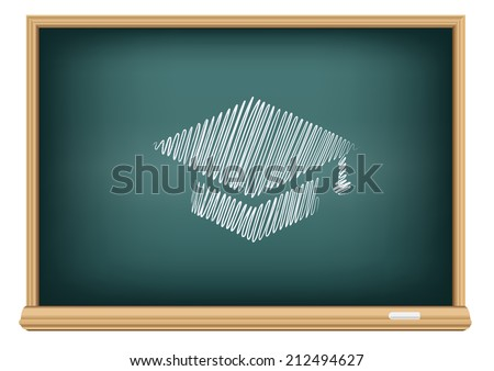 The school blackboard and chalk drawn academic hat - stock vector