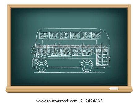 The school blackboard and chalk drawn English bus - stock vector