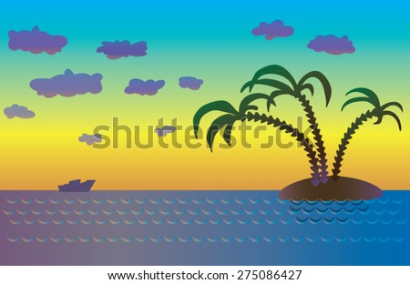 The sea, island with palm trees at sunset - stock vector