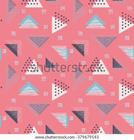 The seamless colorful pattern with geometric shapes. Triangles, crosses, circles. Hand drawn overlapping background for your design. Textile, blog decoration, banner, poster, wrapping paper. - stock vector