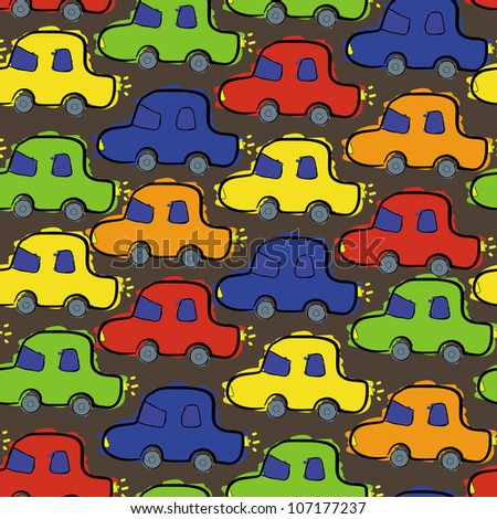 The seamless with color cars - stock vector