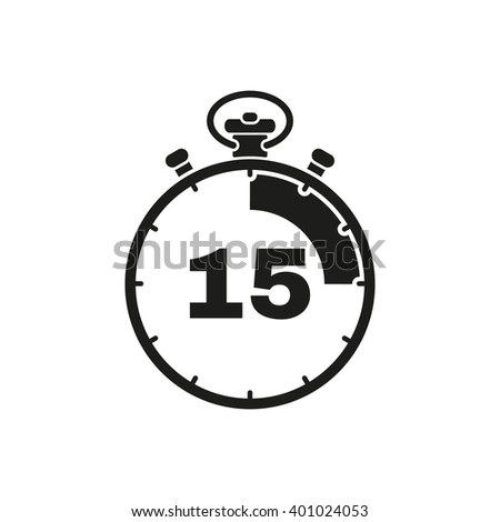 The 15 seconds, minutes stopwatch icon. Clock and watch, timer, countdown symbol. UI. Web. Logo. Sign. Flat design. App. Stock vector - stock vector