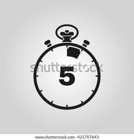 The 5 seconds, minutes stopwatch icon. Clock and watch, timer, countdown symbol. UI. Web. Logo. Sign. Flat design. App. Stock vector - stock vector