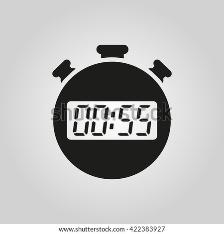 The 55 seconds, minutes stopwatch icon. Clock and watch, timer, countdown symbol. UI. Web. Logo. Sign. Flat design. App. Stock vector - stock vector