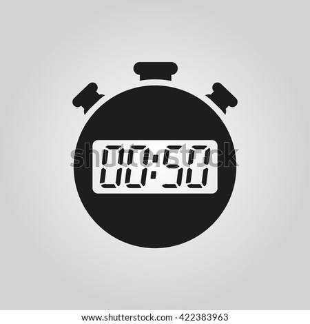 The 50 seconds, minutes stopwatch icon. Clock and watch, timer, countdown symbol. UI. Web. Logo. Sign. Flat design. App. Stock vector - stock vector