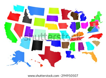 The Separated States of America - All States Included - stock vector