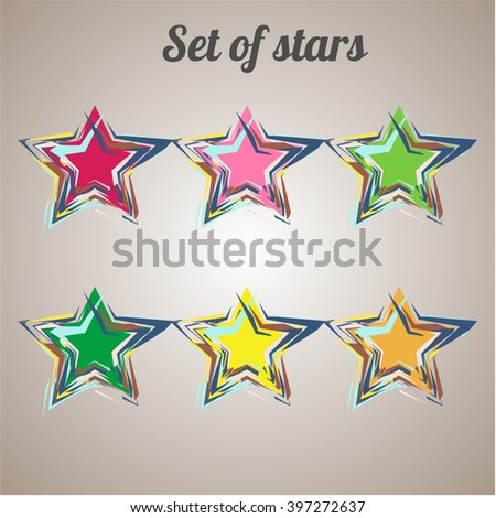 The set consists of stars. New unusual stars. Modern stars. Star - stock vector