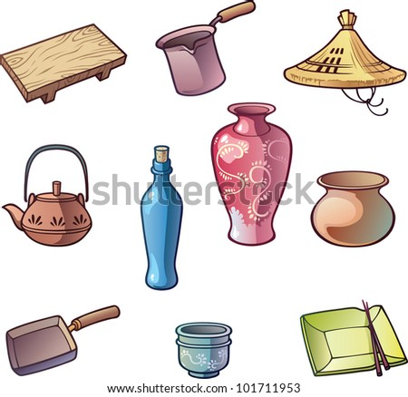 The set Japanese traditional kitchen utensils. And the the kasa - the traditional hat of Japan. - stock vector