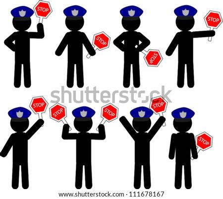 The set of black policeman icon - stock vector