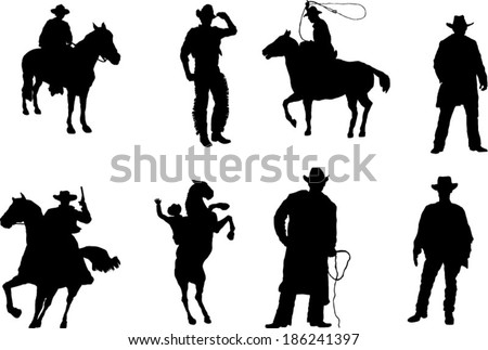The set of cowboy silhouette - stock vector