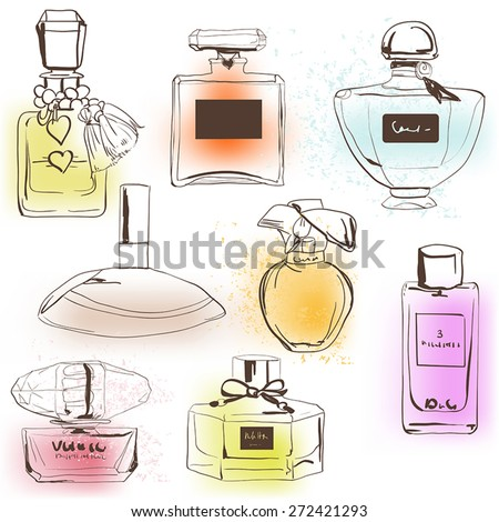 the set of different perfumes. - stock vector