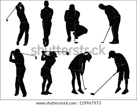 The set of golf players silhouette - stock vector