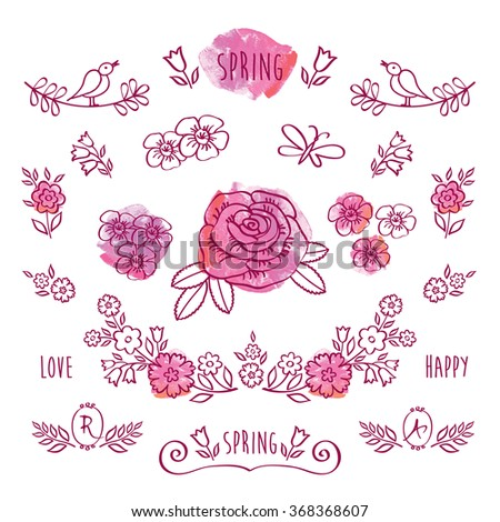 The set of hand drawn elements for your design on the pink watercolor background. Elements for Valentine's Day, mother's day, birthday, wedding, easter. Doodles, sketch. Vector. - stock vector