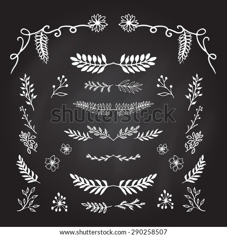 The set of hand drawn vector decorative elements - stock vector