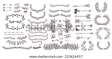 The set of hand drawn vector decorative elements for your design. Leaves, swirls, floral elements, circular frames, borders, dividers. - stock vector