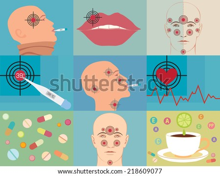 The set of images with diseases and colds. Flat vector illustration. - stock vector