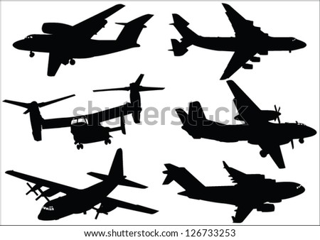 The set of military transport aircraft - stock vector