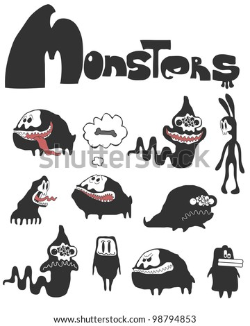 The set of monsters. Vector illustration - stock vector
