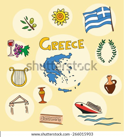 The set of national profile of the geographic maps of the greece state designed cartoon on the colored background - stock vector