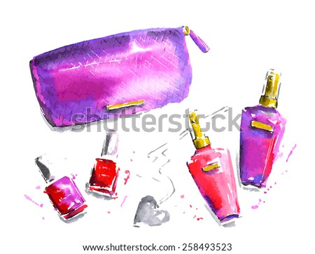 The set of pink cosmetics. Watercolor vector illustration - stock vector