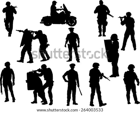 The set of  policeman silhouette - stock vector