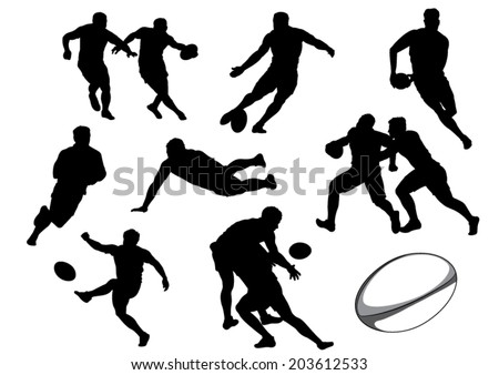 The Set of Rugby Player Silhouettes. Vector Image - stock vector