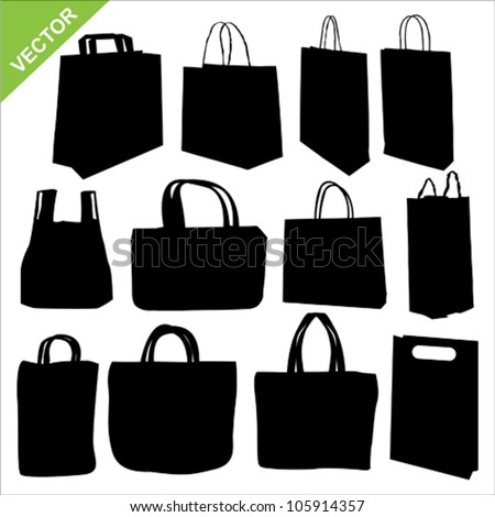 The set of shopping bag silhouettes vector - stock vector