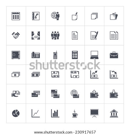The set of vector business icons in flat style. Use with pleasure for your sites or any kind of infographic. - stock vector