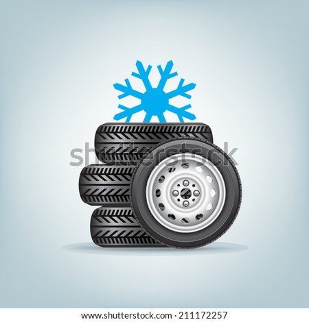 The set of winter wheels with icon of snowflake - stock vector