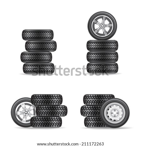 The sets of four wheels on white background - stock vector
