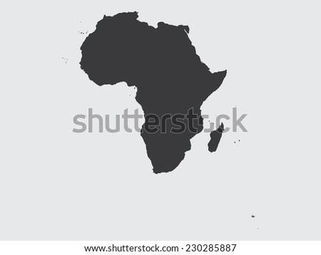 The Shape of the Continent of  Africa - stock vector