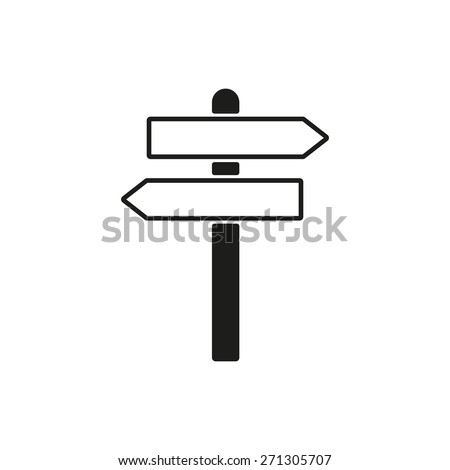The signpost icon. Pointer symbol. Flat Vector illustration - stock vector