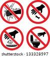"""The signs """"Do not break glass"""", """"Do not litter"""" - stock vector"""