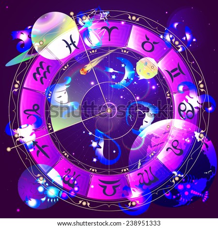 The signs of the zodiac, zodiac circle in space, vector illustration - stock vector