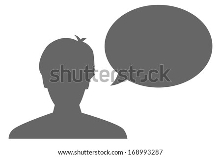 The silhouette of a head and blank bubble / The man and bubble / the communication - stock vector