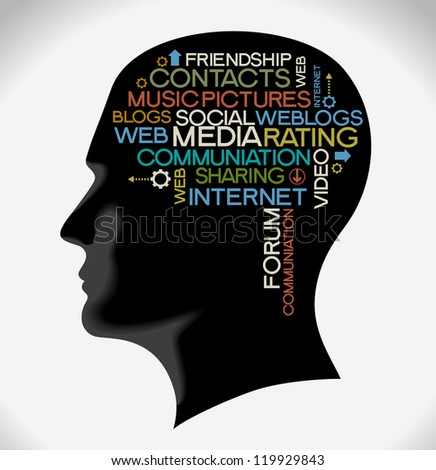 the silhouette of his head with the words on the topic of social networking. Word collage. - stock vector