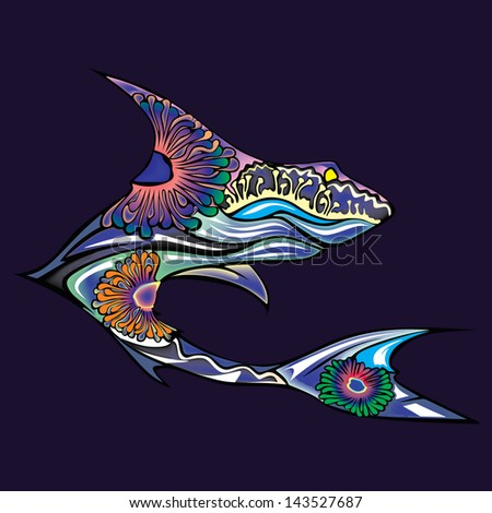 The silhouette of the shark collected from various elements of a flower ornament - stock vector