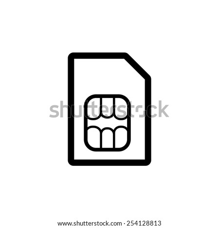 The sim card icon. Sim card symbol. Flat Vector illustration - stock vector