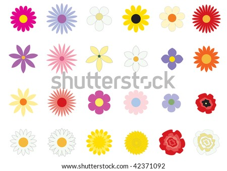 The simple vector flowers on the white background - stock vector
