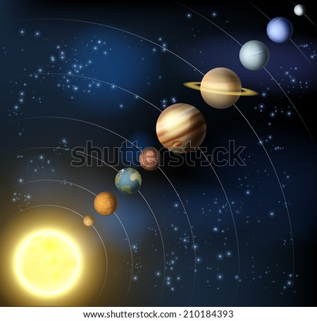 The solar system with the planets orbiting the sun including the minor dwarf planet Pluto - stock vector