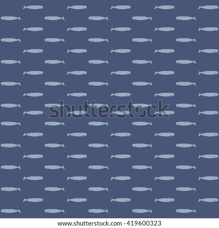 The sperm whale vector seamless pattern. Fresh design for printing on fabric, packaging, paper, bags, clothes. Sea fish background vector. - stock vector