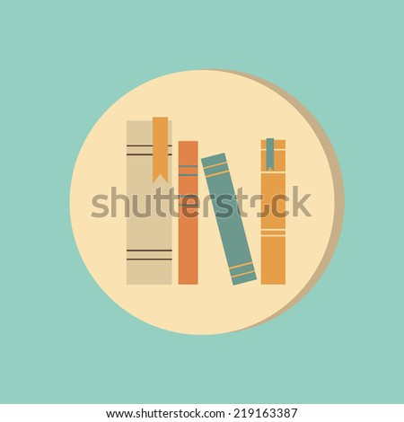 the spines of books. icon symbol of a science and literature - stock vector