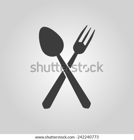 The spoon and fork icon. Spoon and fork symbol. Flat Vector illustration - stock vector