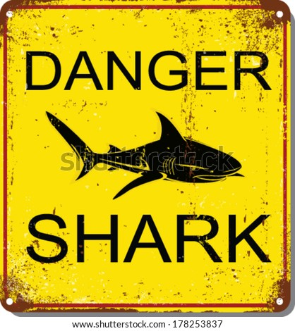 The Square Black and Yellow Warning No Lifeguard On Duty Surf At Your Own Risk Sign Isolated on White Background.shark attack vector set. metal sign - stock vector