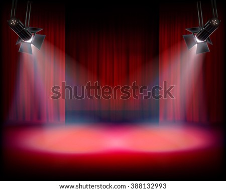 The Stage with red curtain. Vector illustration. - stock vector