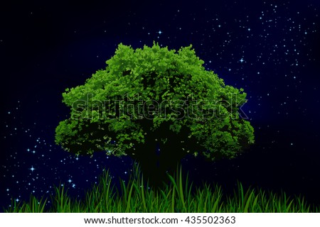 The starry night sky and lonely tree - stock vector