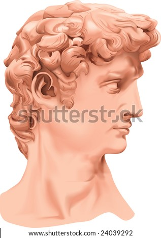 The Statue of David  (reproduction, handwork, hand trace) - stock vector