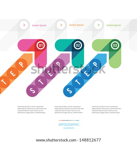 the step-by-step instruction with color arrows - stock vector